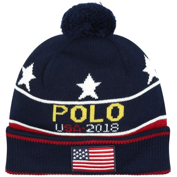 Ralph Lauren Flag Appliqué Star Beanie (145 CAD) ❤ liked on Polyvore featuring men's fashion, men's accessories, men's hats, ralph lauren mens hats, mens bobble hats and mens beanie hats