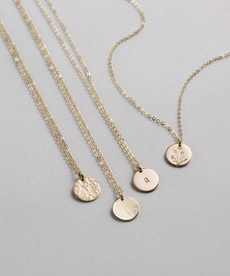 Blank or personalized simple, everyday circle tag necklace!  Choose from different textures, metals and personalized options!