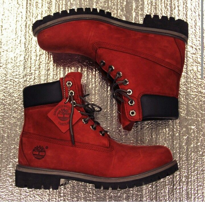 Burnt red timberland boots.