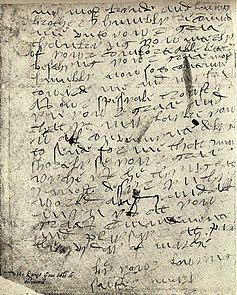 La Dame en anglais 3: said to be a letter from Mary Tudor to her brother Henry VIII on 6 March 1515: British Museum. Extraordinary handwriting.