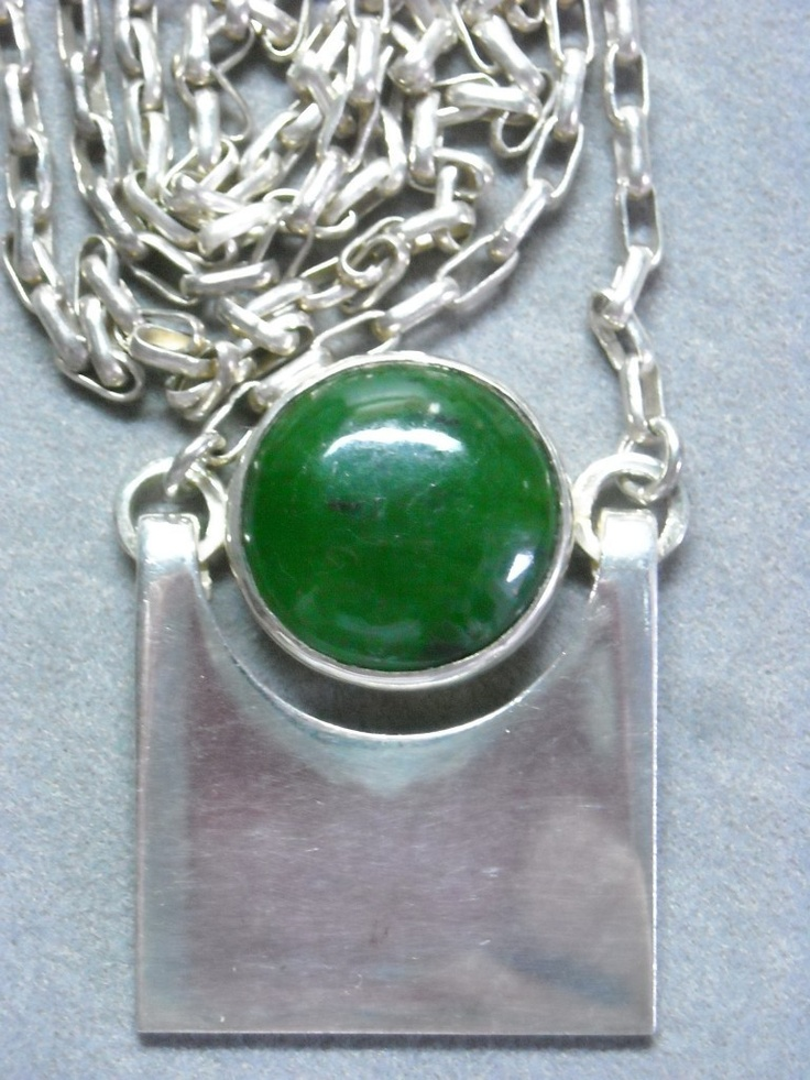 1976 Kaunis Koru Finnish Jade necklace (I think it has a nice Art Deco or Jugendstil design.)
