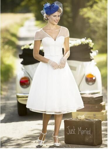 Marvelous Organza V-neck Neckline Tea-length A-line Wedding Dress With Belt from MrTang
