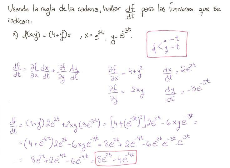Ejercicio 1 resuelto. Tema: regla de la cadena funciones de varias variables