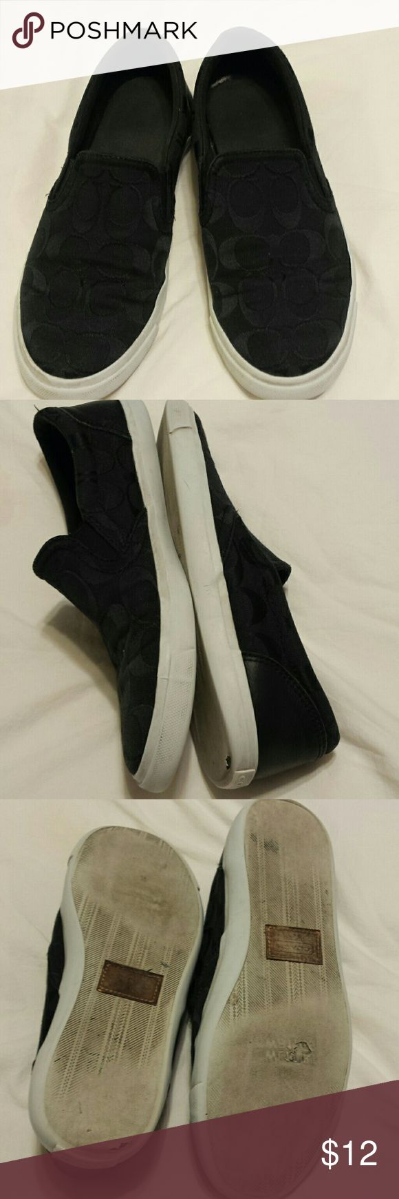 Coach Sneakers Looks great on top, worn on soles, still some wear on them. Too tight for me.😕 or I'd keep them. Coach Shoes Sneakers