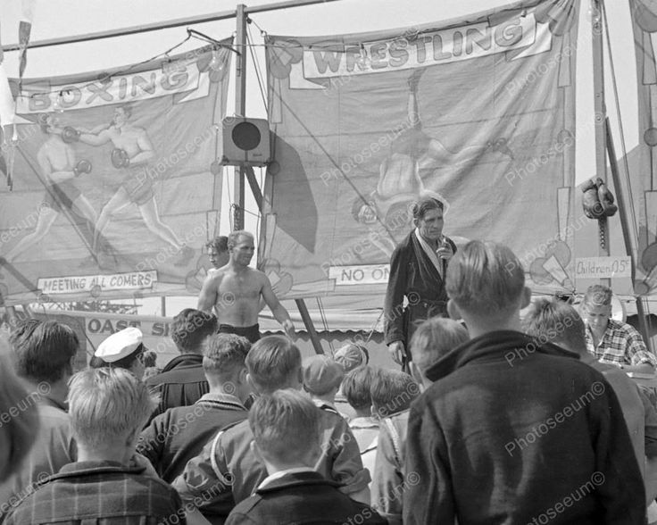 Wrestling Boxing Amusement Fair Sideshow 1938 Vintage 8x10 Reprint Of Old Photo