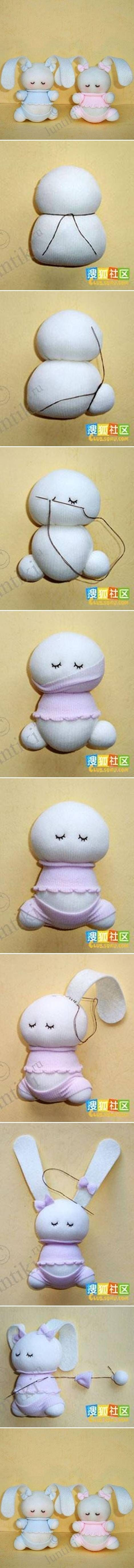 DIY Cute Sock Bunny Tutorial