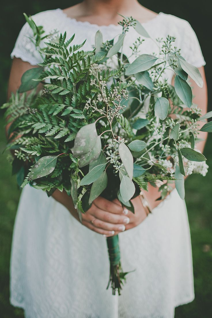 Greenery Bouquet | See more of this all-natural wedding on SMP: http://www.stylemepretty.com/2014/01/23/diy-wedding-on-mackinac-island/ Justine Montigny Photography