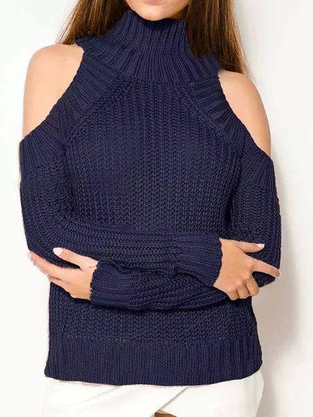 Navy High Neck Cold Shoulder Long Sleeve Sweater