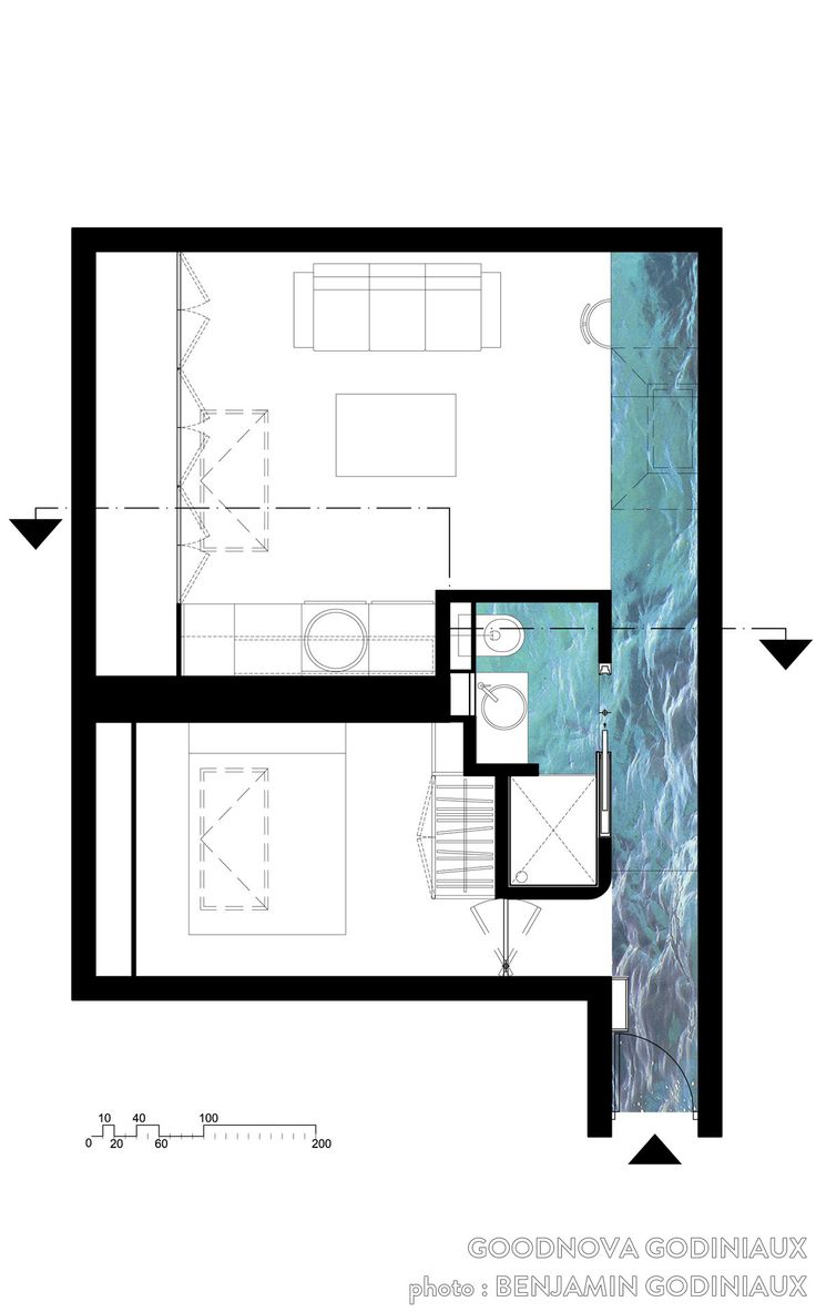 Plan dun appartement de 34m2 de surface