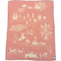 Klippan ekologisk bomullsfilt - tunn, borstad bomull - Little bear rosa