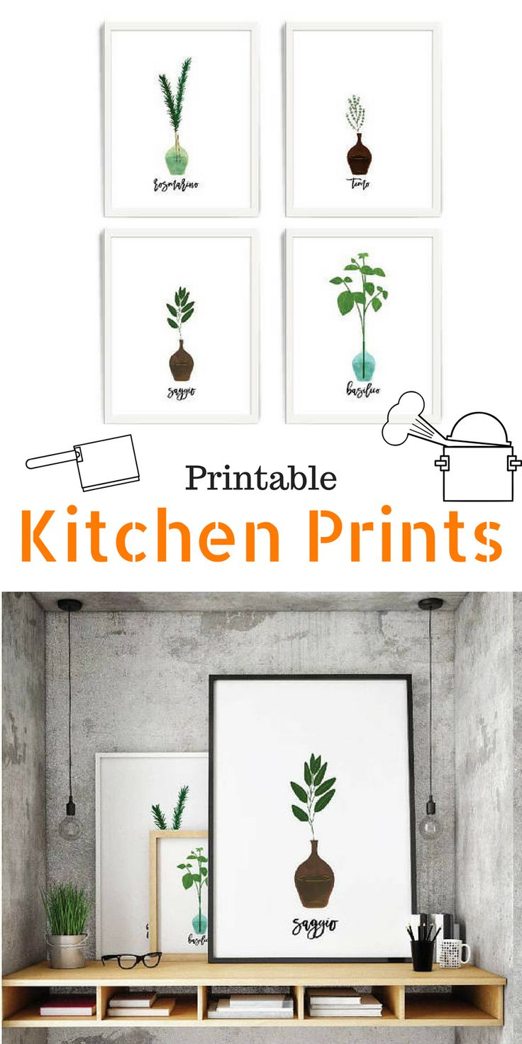 Cool minimalistic printable kitchen prints with Italian herbs. I love using printable wall art to decorate my kitchen. Otherwise the kitchen is rather boring #kitchendecor #ad #kitchenprints #printable #etsy