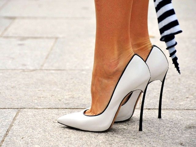 The classic black and white Casade blade pump #streetstyle #fashionweek #shoes