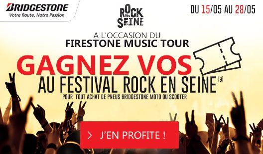 BRIDGESTONE VOUS OFFRE VOS PLACES POUR ROCK EN SEINE ! Dans le cadre du Firestone Music Tour, Bridgestone vous fait gagner par tirage au sort 10 places pour le Festival Rock en Seine(9) (Paris Saint-Cloud), pour toute commande de pneu(s) Bridgestone Moto ou Scooter entre le 15/05/2017 et le 28/05/2017. Bonne chance !
