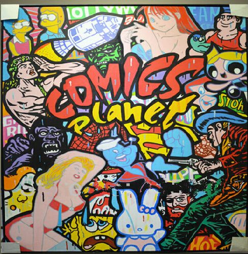 Cheap VENDITA CALDA Pop Art Cartoon pittura a Olio su tela Qualità di hight dipinta A mano Pittura Google pittura a olio…