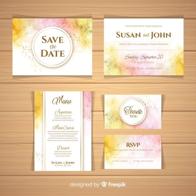 Download Watercolor Wedding Stationery Template Collection For Free Watercolour Wedding Stationery Wedding Stationery Stationery Templates