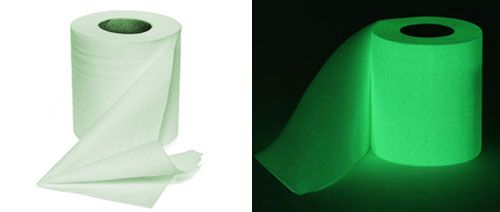 Toilet Paper----There's something about glowing in the dark that makes even the most mundane object more awesome. Not sure if we would actually buy this luminous toilet paper, but it did give us a giggle. The 16 Coolest Things That Glow in the Dark via Brit + Co.