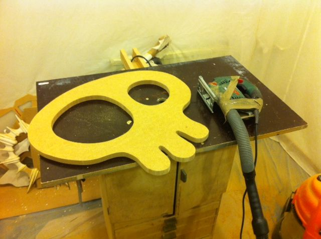 We have just drilled and sawn out the new skull mirror from MarvellousMirrors.