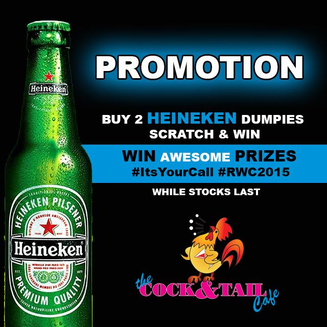 AWESOME @Heineken_SA promotion at The Cock & Tail Cafe #ItsYourCall #RWC2015 http://bit.ly/1Kx9kAg