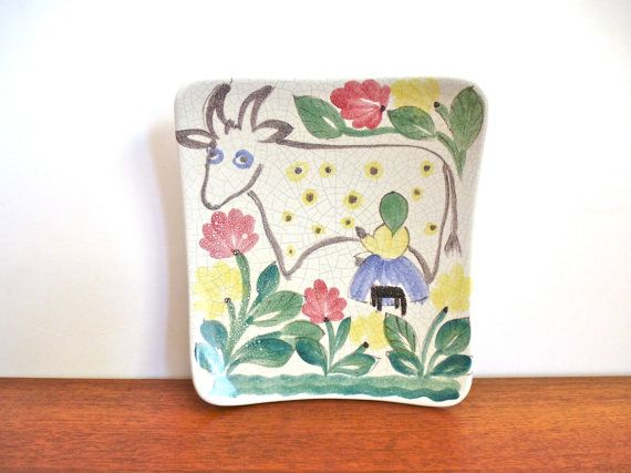 Arabia Finland Hand Painted Milk Maid and Cow by HotCoolVintage