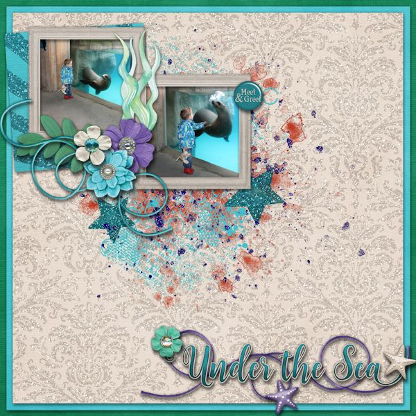 Under the Sea - digital Scrapbook Layout    Credits:  Under the Sea Grab Bag by Laurie's Scraps & Designs at Gingerscraps    Love the sea mermaid theme of this grab bag.    http://store.gingerscraps.net/Under-The-Sea-GrabBag.html
