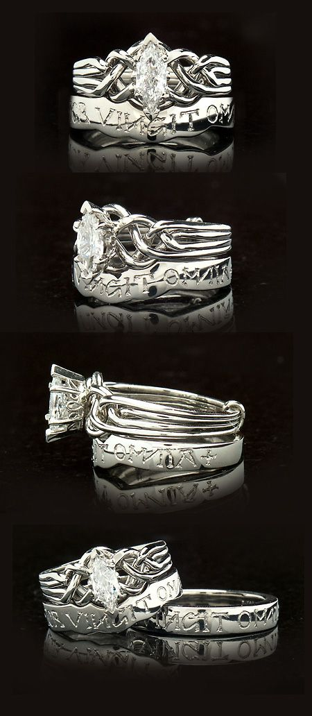 Marquise Diamond RIng: A marquise diamond puzzle ring is paired with a Latin, custom, contoured band saying Amor Vincit Omnia, meaning Love conquers all. The puzzle ring is a medium, four-band, and it is easy to learn to assemble with just a little practice. The partner band is shown in the bottom image - it's a tapered band for added comfort.