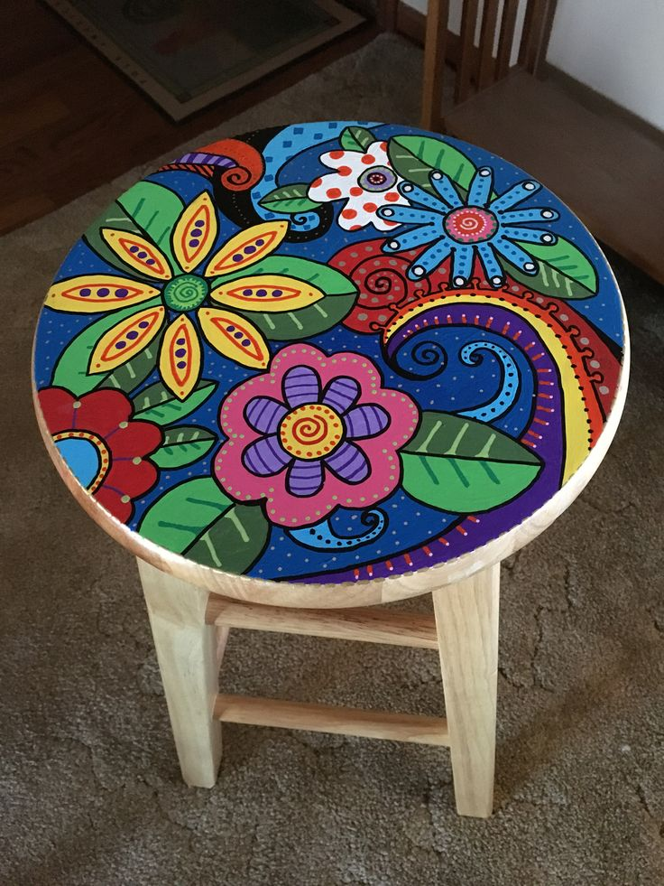 Painted wooden stool. Acrylic paint.