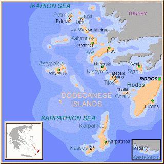 * Islas del Dodecaneso Las islas griegas del Dodecaneso son: Rodas, Karpatos, Kasos, Simi, Tilos, Nisiros, Astipalea, Kos, Kalimnos, Leros, Patmos y Kastelorizo.
