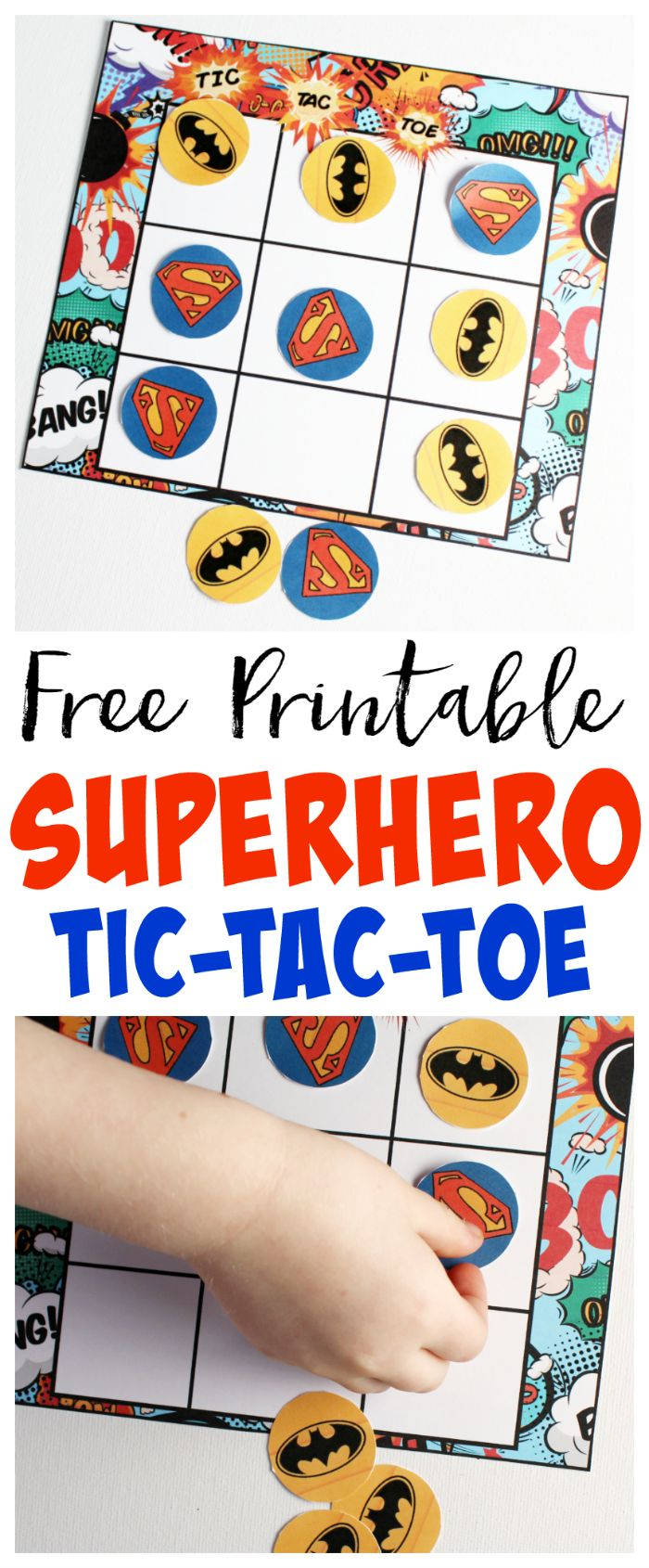 Superhero Tic-Tac-Toe Free Printable