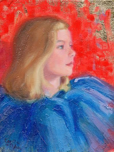 """Baby Blue"" 18x24cm, oil, immitation goldleaf on linen. Painted by Carolien van Olphen"