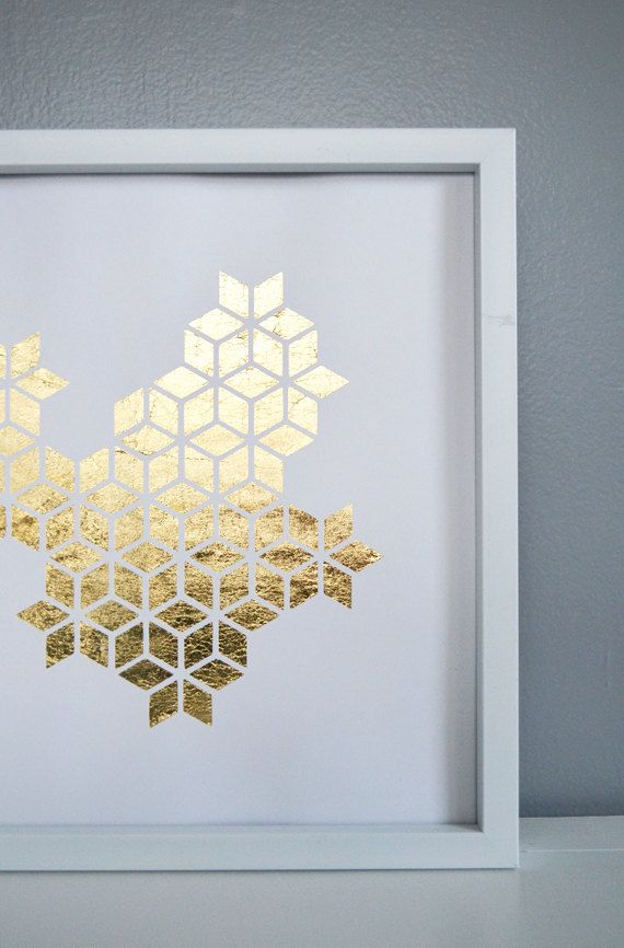 Metallic Gold Behind White Paper Cutout