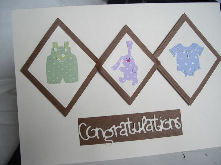 New baby boy card  made with Cottage Cutz boy clothes die cutter and Sizzix congratulations word die cutter.
