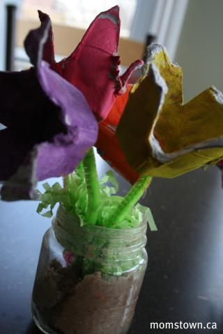 Egg Carton Flower Bouquet for Earth Day craft