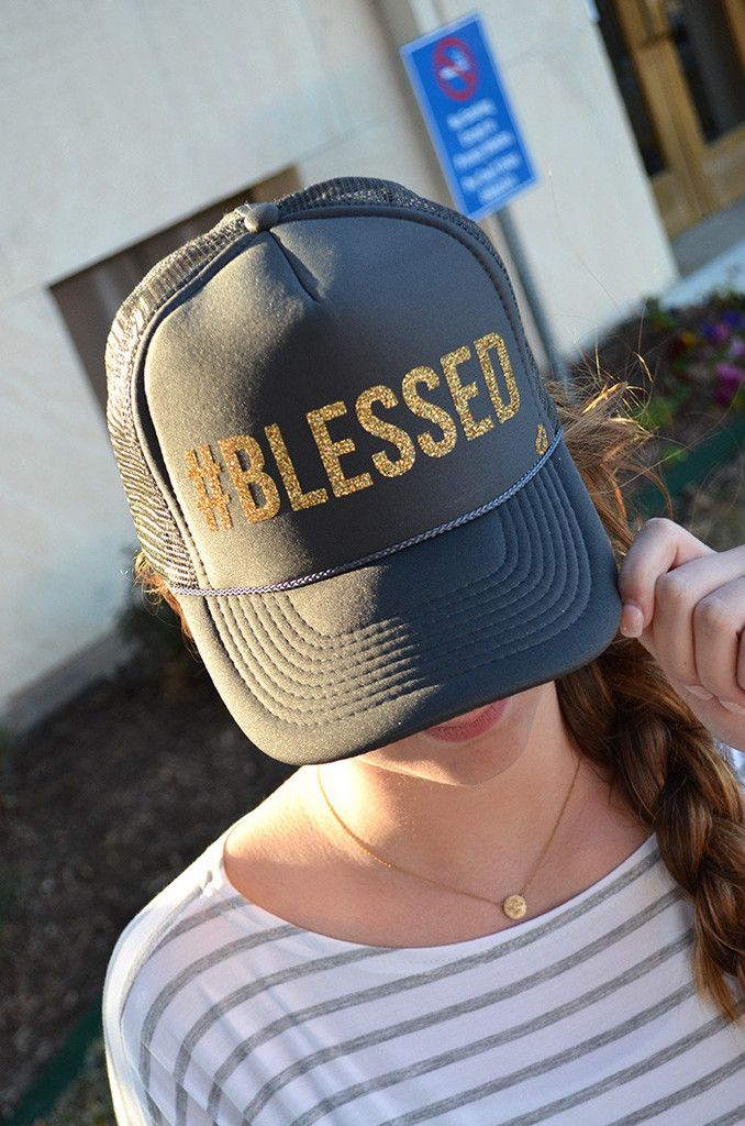 Mother Trucker #Blessed Hat • $30 * Groovys.com • gold glitter blessed text, gray hat, adjustable snap back