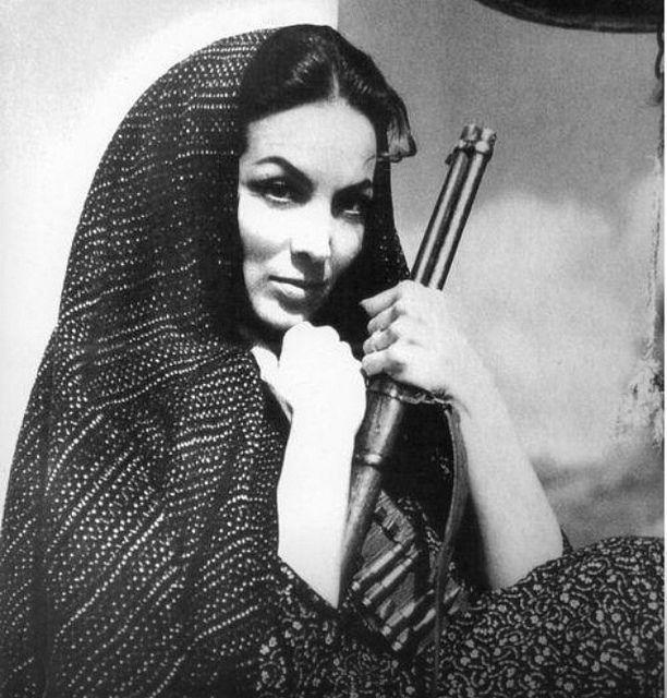 Maria Felix, vestida de adelita - as a revolution soldier, or Adelita, Mexico.