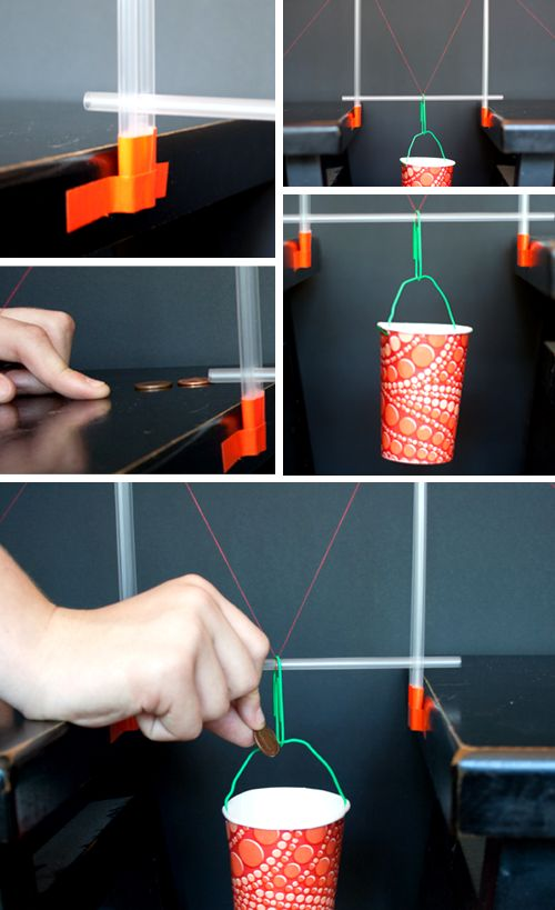 Science Project / Suspension Bridge from straws - multiple images