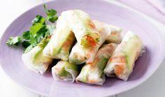 Rollitos de hoja de arroz con verduras.