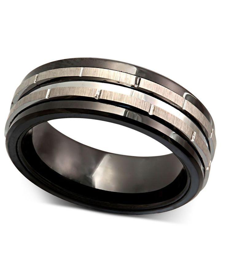 Men's Tungsten Ring, Black Ceramic Tungsten Design Ring