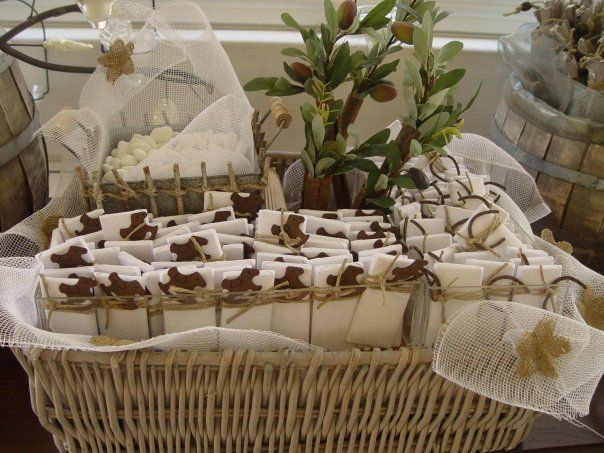 Chocolate baskets in neutral colors.