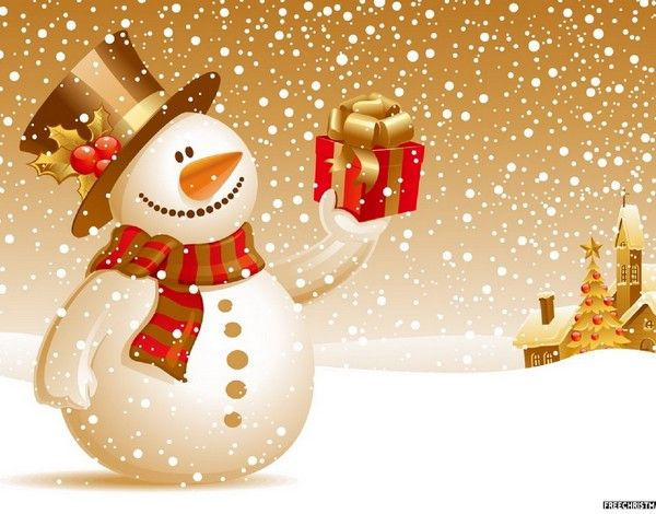 Snowman With Christmas Gift