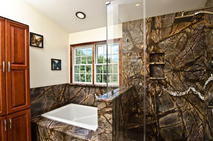 rainforest marble bathroom   Stone Profile: Rainforest Brown Granite & Rainforest Green Granite