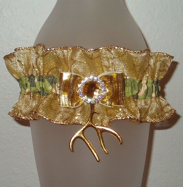 Green Camouflage Gold 2017 Prom Garter Browning Rhinestone Glitter Shimmer Sparkle Hunting Antler Archery Buck Deer Army Military Wedding by JazziGenShoppe on Etsy