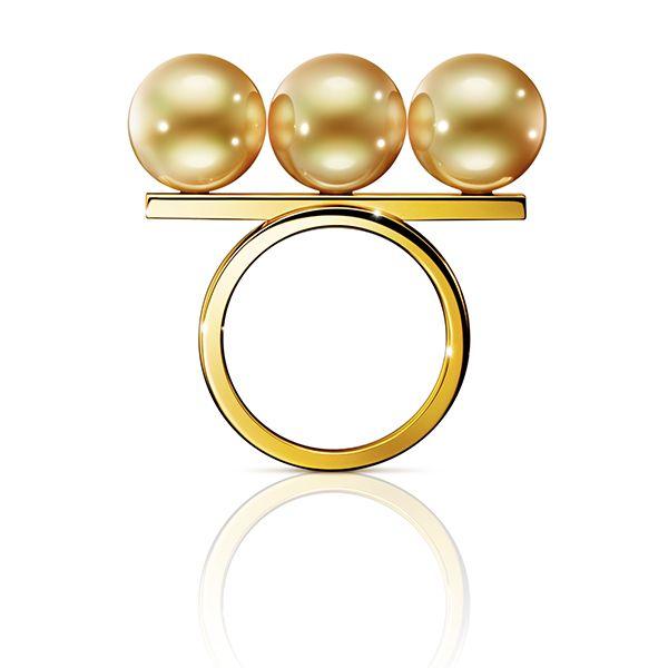 Tasaki, Balance noble ring, gold, south sea pearl