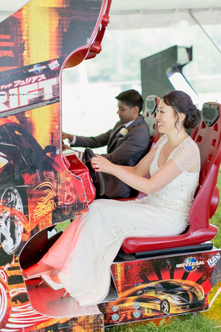 "Whimsical Wedding Ideas - Bring in some ""big toys"" - arcade games, etc. for party fun. See the wedding on SMP: http://www.StyleMePretty.com/2014/03/11/romantic-garden-wedding-at-caramoor/ Photography: Elisabeth Millay"