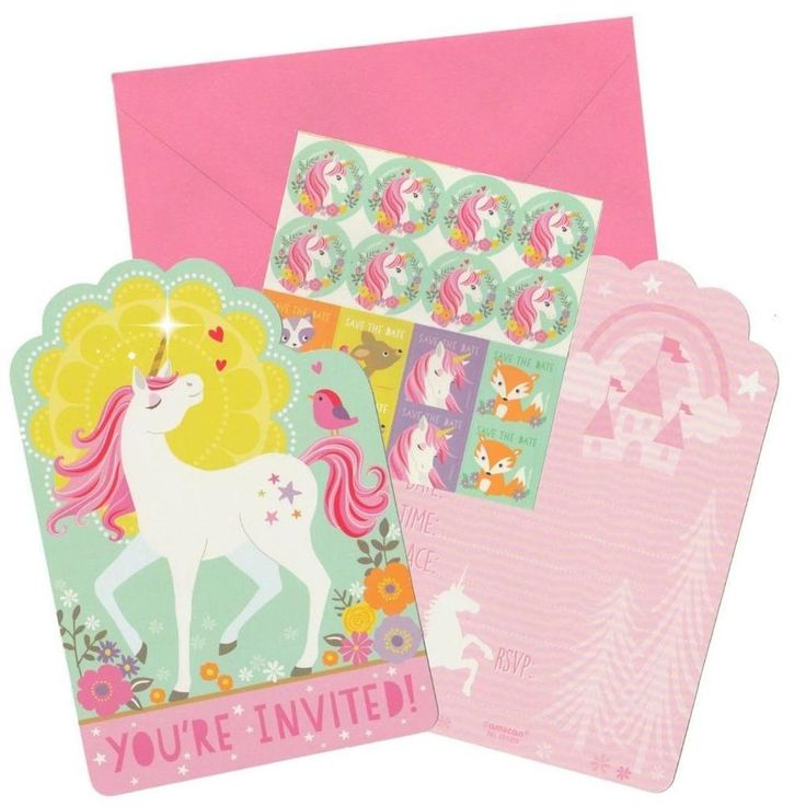 Magical Unicorn Party Invitations With Stickers (8 invites)-Girls Party Supplies