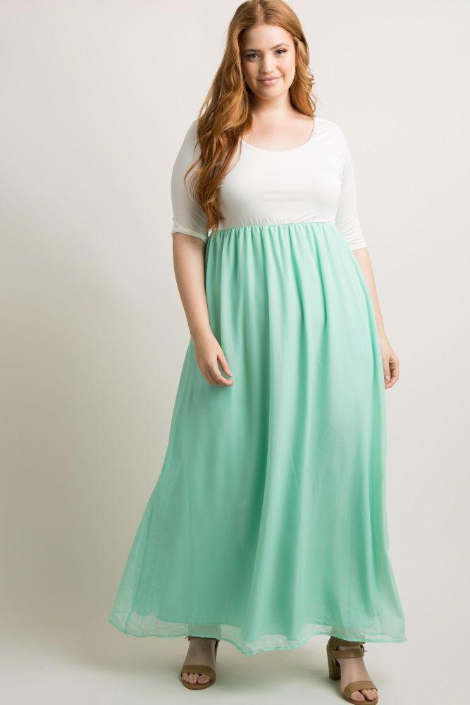 72a842d38fa3 Mint Chiffon Colorblock Plus Maxi Dress   Bree Kish   Plus size maxi ...