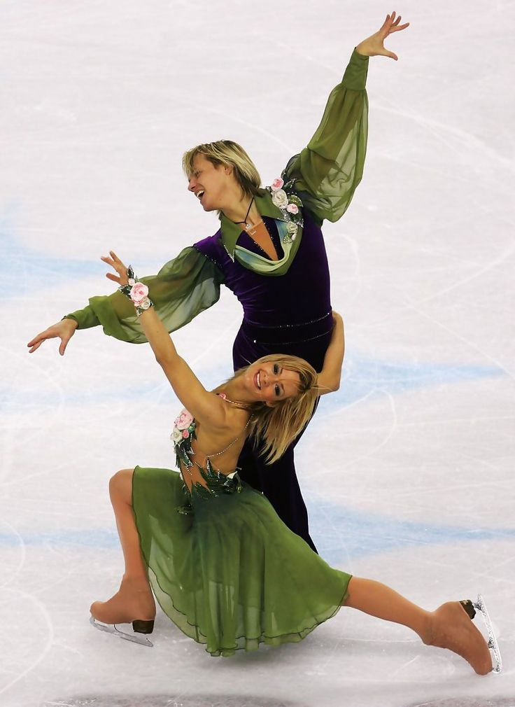 Albena Denkova and Maxim Staviski of Bulgaria perform during the compulsory dance program of the figure skating during Day 7 of the Turin 2006 Winter Olympic Games on February 17, 2006 at Palavela in Turin, Italy.
