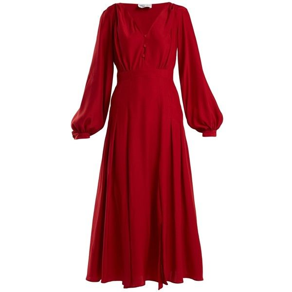 Raquel Diniz Dalia button-front silk tea dress (€1.050) ❤ liked on Polyvore featuring dresses, long cocktail dresses, long sleeve dress, tea-length dresses, long red dress and red dresses