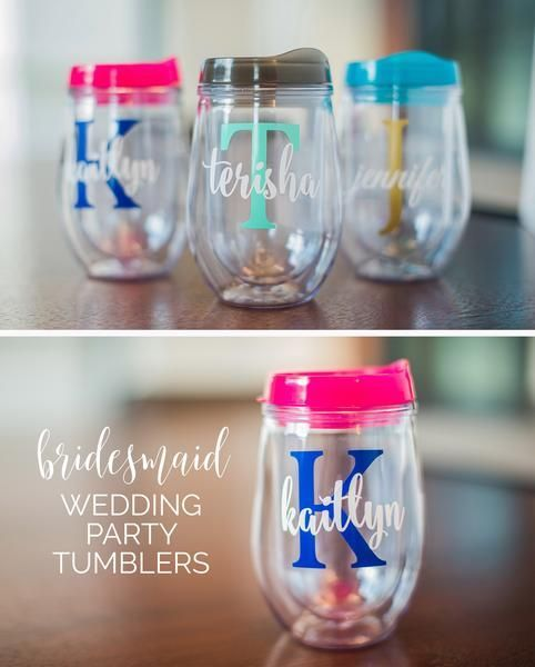 These stemless acrylic wine glasses are a unique personalized gift idea for your future bridesmaids and maid of honor for the bachelorette party! This personali