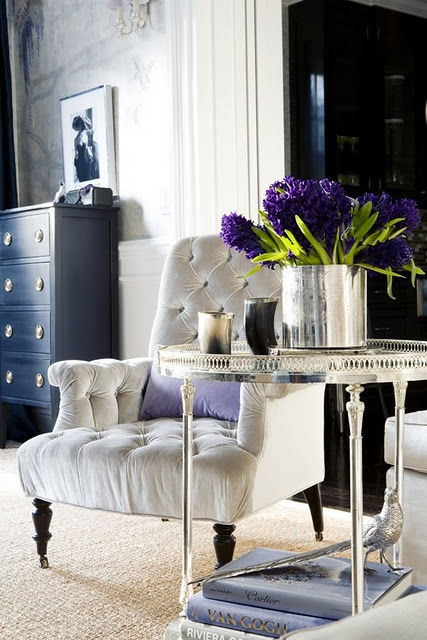 Hyacinths... - silver cart, bucket, and silver-white chair