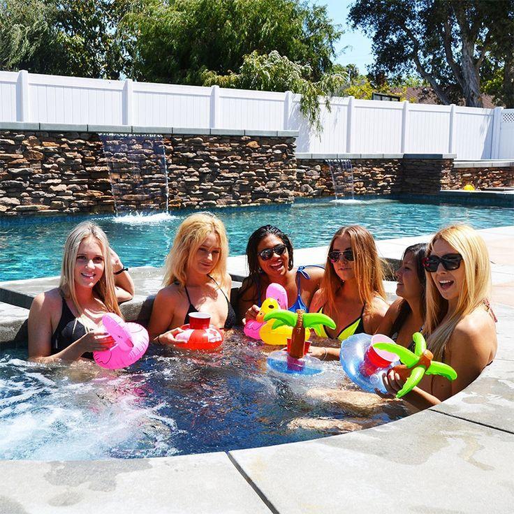 12 pz Fenicottero Gonfiabile Sottobicchieri Palma Portabibite Pool Party Decorazioni Swim Galleggianti